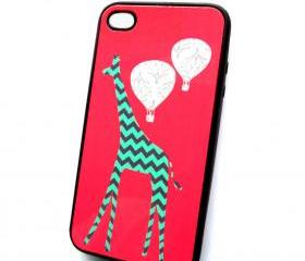 Mint Gray iPhone 4 iPhone 4S Case Tallest Giraffe Black Rubber Case